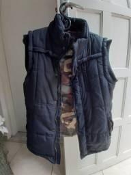 Colete jaqueta masculino preto forrado