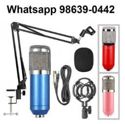 Kit Microfone Estúdio Condensador Bm800 + acessórios (Novo, aceito cartão)