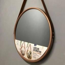 Espelho Adnet 45cm Marrom/Preto/Rose Com Alça de Couro Novo na caixa
