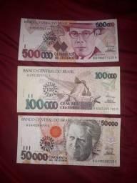 3 Cédulas 1993 com carimbo 50/100/500 Crz Rs
