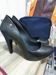 Sapato Melissa original preto c/ glitter Tam 39/40