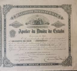 Apólice Antiga da Dívida do Estado de Minas