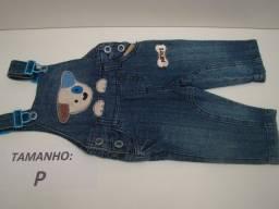 Lote: 5 peças Jardineira jeans para Bebê menino / Tamanhos: P - M - 1 - 3