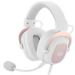 Headset Gaming Redragon Zeus 2 All In One H510W com Microfone Removivel - Branco/Rosa
