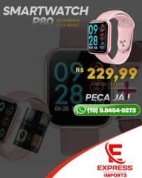 SmartWatch P80 Com Bluetooth, Monitor Cardíaco Pressão Arterial Sono e Muito Mais!