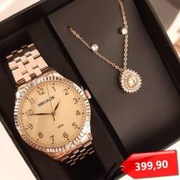 Título do anúncio: Relógio Seculus Feminino + Colar + Brinco De Brinde Original