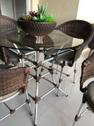 Jogo de mesa de junco c 4 cadeiras
