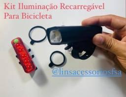 Kit Iluminação Recarregável Para Bicicleta
