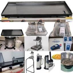 Fritadeira elétrica, extrator de sucos industrial, chapas, escorredor de batatas,etc