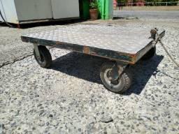 Carrinho de carga reforçado de ferro com assoalho de alumínio rodas maciças