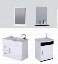 Conjunto balcão e espelheira banheiro suspenso MDF