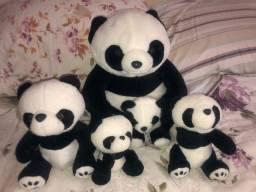 Kit 5 pandas , diversos tamanhos 30, 20, 15, 12, 10 cm