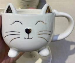 Caneca gato cerâmica presente