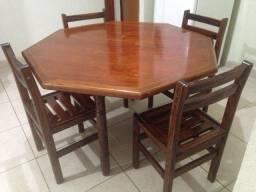 Mesa madeira + 4 cadeiras