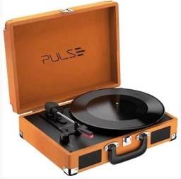 Vitrola Toca Vinil Retrô Pulse Berry Suitcase Turntable, Potência 5w, Com Bluetooth Bivolt