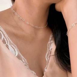 Conjunto cordão e pulseira em prata 925