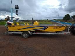Embarcação 5 metros c/ Yamaha 55 hp e reboque novo (conjunto completo)