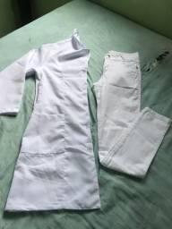 Vendo jaleco m e calça branca t 40