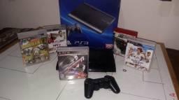 Playstation 3 estado bom, 1 controle sony, 5 jogos video game original sem desbloquear
