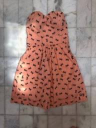 Vestido tomara que caia estampado curto
