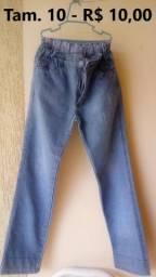 Calças jeans infantil tamanho 10