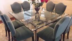 Mesa de jantar de ferro com tampo de vidro