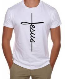 Camiseta Branca, Masculina, Estampada - Jesus