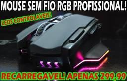 Mouse sem Fio Recarregável RGB Controlável 16.000Dpi!
