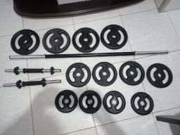 Kit barra ,alteres e 40 kilos em anilhas
