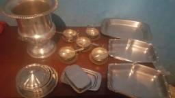 Vaso metal banho prata