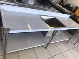 Pia inox para cozinha industrial c prateleira pronta entrega 2500 x 700 - Ricardo