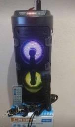 Caixa de som torre 300w com microfone 45cm