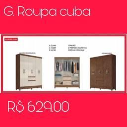 Guarda-roupa 6 Portas e 2 Gavetas Cuba