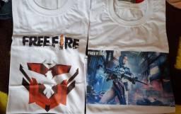 Queima de estoque Kit camiseta Free Fire R$40,00