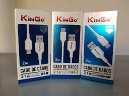 Cabo carregador kingo 2 metros Tipo C - Iphone - Micro USB v8