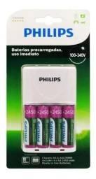 Título do anúncio: Carregador De Pilhas 2A e 3A Philips + 4 Pilhas 2A 2450Mah- LOja Natan Abreu