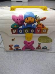 Dvd player portátil infantil+ kit dvds pocoyo