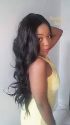 Peruca wig preta ondulada NOVA