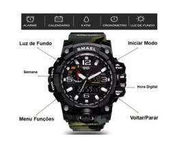 Relógio Militar Smael 1545 Camuflado Militar Shock Prova D'água Promoção Original