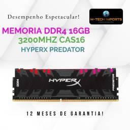 Memória 16GB 3200Mhz DDR4 RGB HyperX Predator CL16- HX432C16PB3A/16