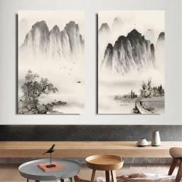 Quadro Paisagem Oriental Díptico Acrílico Pintado à mão 120x90 cm / Decoração Oriental