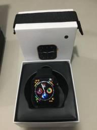Relogio smartwatch w26+ preto tela infinita com pulseira metal extra