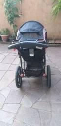 Carrinho de bebê para corrida em todos os terrenos com 3 rodas preto cinza leve