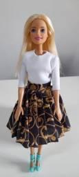 Roupa para Barbie saia de pregas