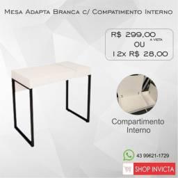 Mesa Adapta Branca c/ Compartimento Interno Pé Quadro / Nova / NFE