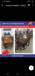 Mesa com tampo de madeira 6 cadeiras