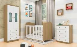Quarto Infantil Completo Com Guarda Roupa Luna 02 Portas, Berço e Cômoda Peroba Baby