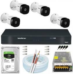 KIT Intelbras 4 Cameras HD completo CFTV monitoramento e Segurança com APP Acesso Remoto