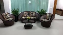 Conjunto de sofa bola em fibra sintética