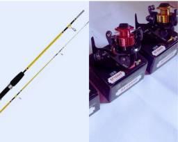 Vara de pesca (1,50 metros) + Molinete (3 rolamentos)